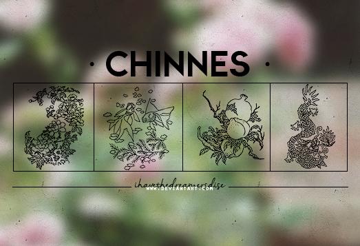 古典式中国印花图案PS笔刷素材