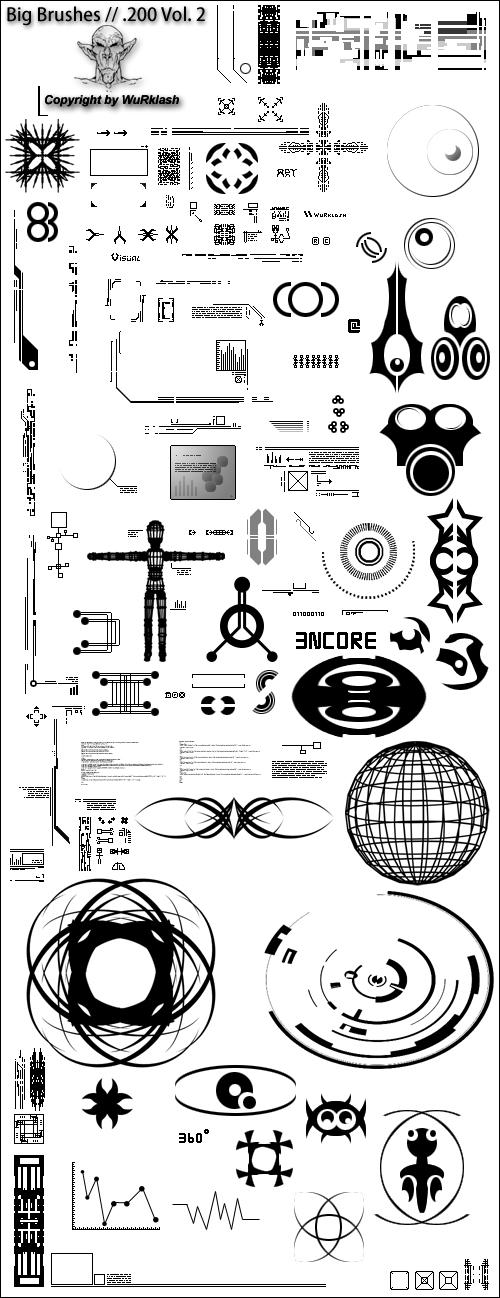 外星人科技符号元素PS笔刷素材