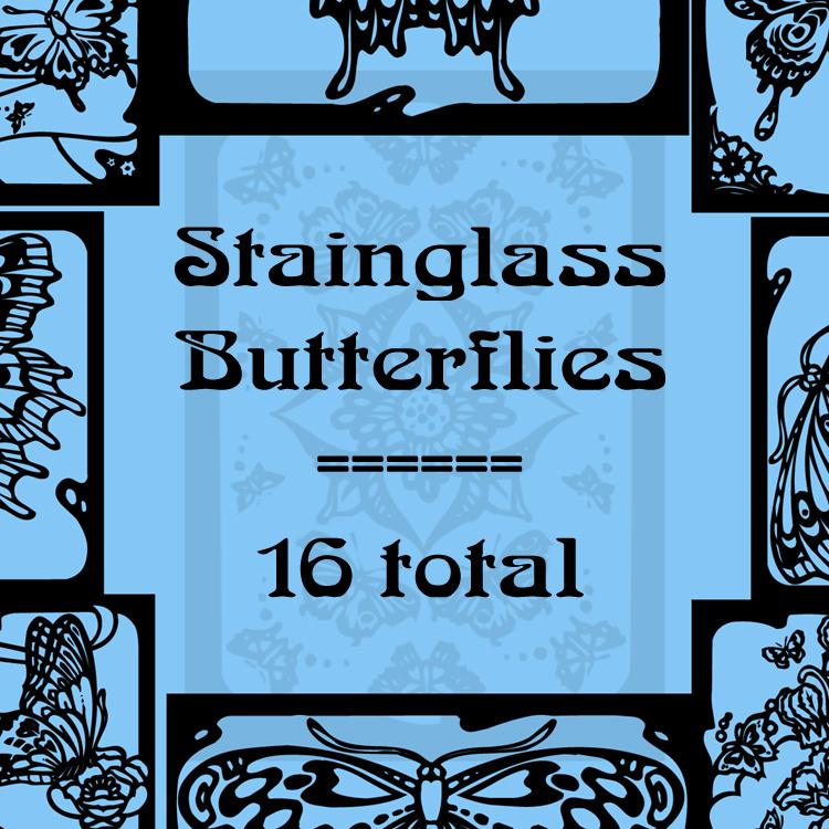 16种蝴蝶印花花纹PS笔刷素材
