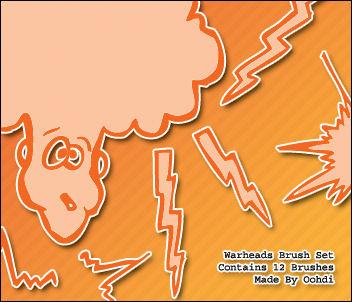 手绘涂鸦式闪电、对话消息框图形PS笔刷素材