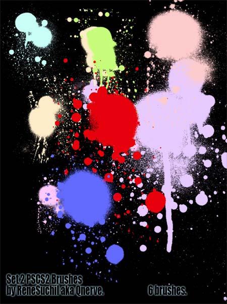油漆、喷漆罐滴溅、喷溅PS笔刷素材