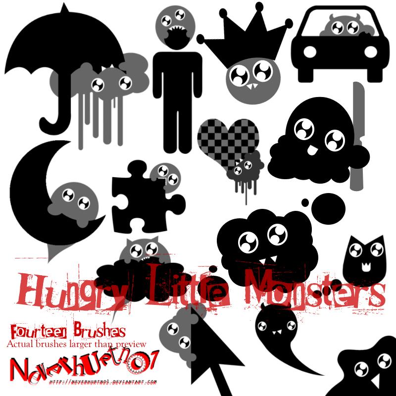 卡通怪兽云朵、雨伞、小怪兽等PS美图笔刷