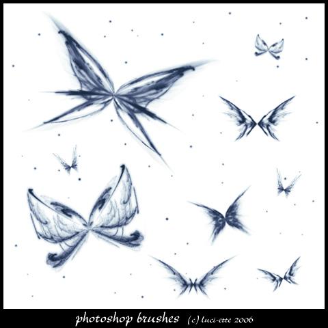 绚丽光影蝴蝶图案PS笔刷素材