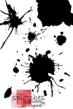 液体水墨、油漆滴溅效果PS笔刷素材