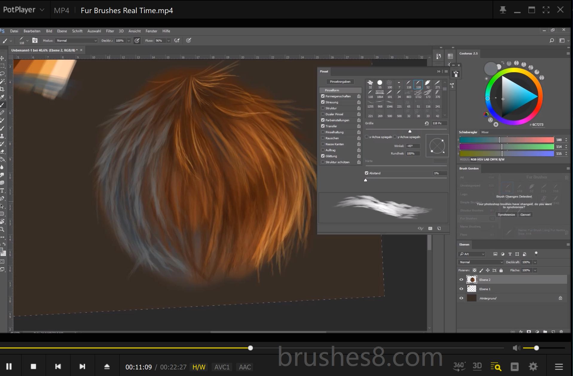 高级毛发、绒毛效果手绘笔触PS笔刷素材(含视频演示文件)