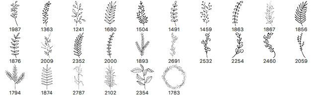26种手绘式枝条、绿叶六条、小树挑图案PS笔刷下载