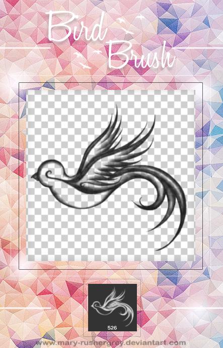 手绘绚丽的飞鸟图形PS笔刷素材