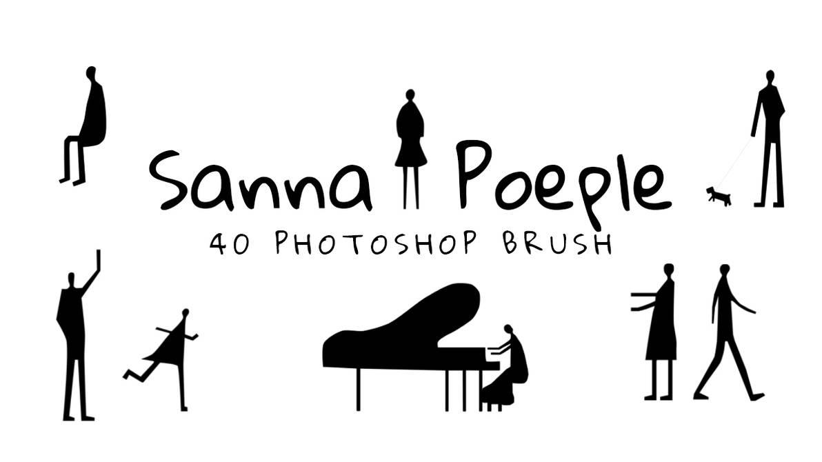 卡通音乐小人、弹钢琴的剪影PS笔刷下载