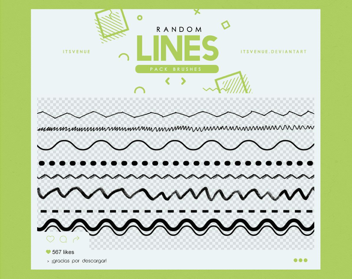 手绘波浪线、折线、点划线图案PS笔刷素材