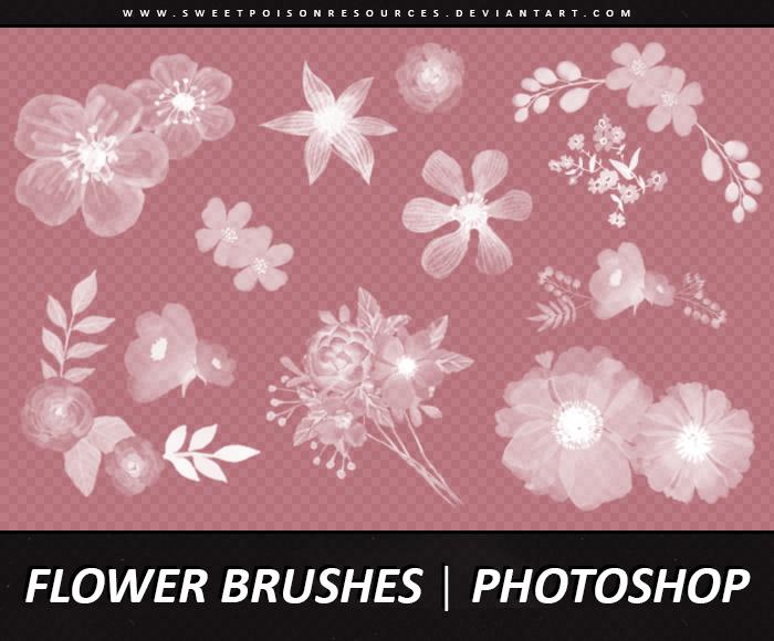 漂亮的鲜花花朵图案造型PS笔刷免费下载