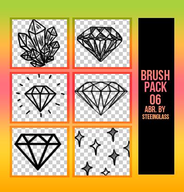 钻石、水晶矿、星星图案PS笔刷素材