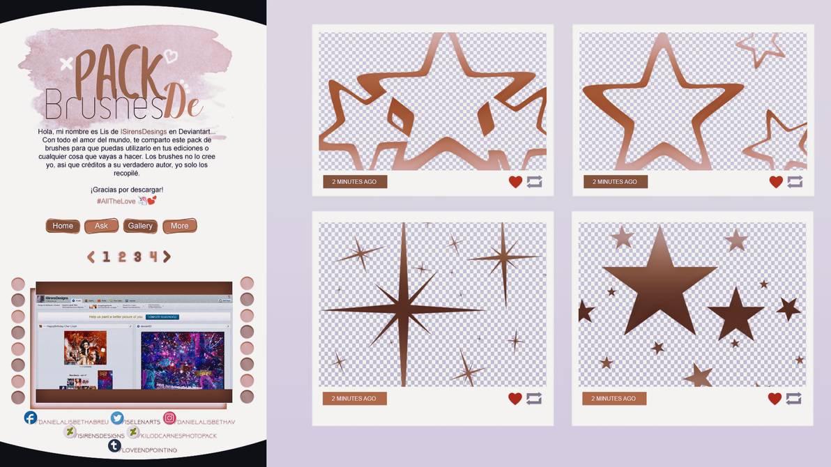手绘五角星、空心星星图案PS笔刷