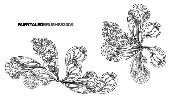 漂亮的佩斯利花纹印花PS笔刷素材免费下载