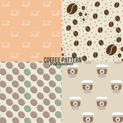 4种卡通咖啡豆、咖啡杯图形PS填充素材下载(PNG图片格式)