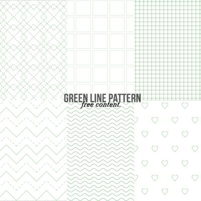 小清新绿色线条组合纹理背景PS笔刷素材(PNG格式素材)