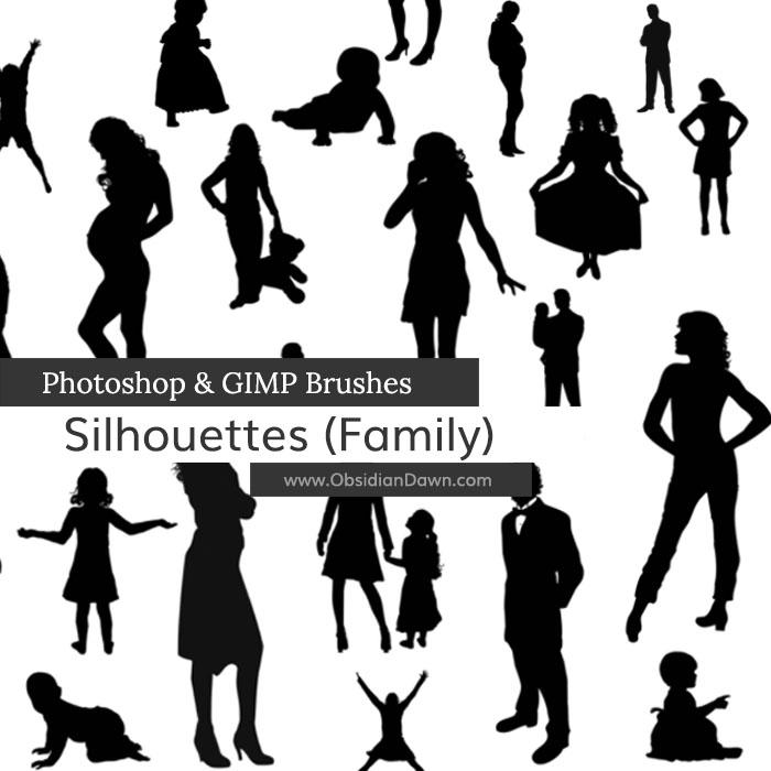 婴儿、孕妇、贵族小姐、绅士、性感女郎、小女孩、男士等PS剪影图像素材笔刷包下载