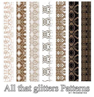 7种复古式印花填充边框PS填充素材下载