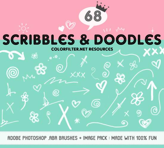 68种手绘涂鸦箭头、花朵、爱心、叉叉、太阳等图案PS笔刷下载