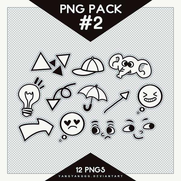 卡通式灯泡、帽子、大象表情等图形PS笔刷(PNG透明格式)