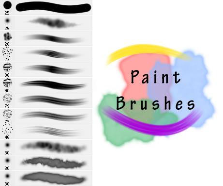 油墨、水彩颜料画笔笔触PS笔刷素材