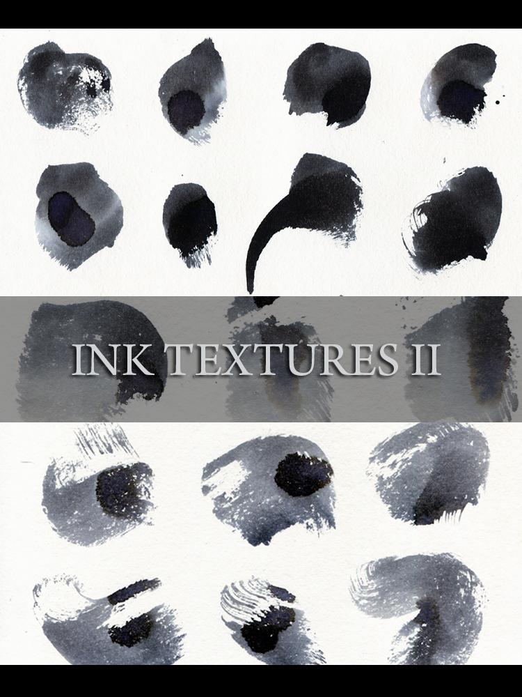 墨水纹理效果、水墨笔触痕迹PS笔刷素材(JPG图片格式)