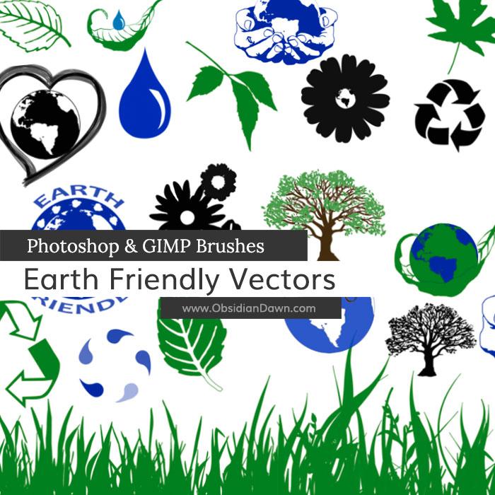 树叶、环保标志、绿叶、草地PS笔刷素材