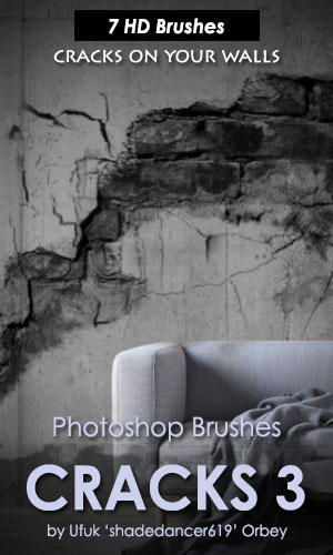 7种高清裂纹、裂缝、墙壁破裂纹理PS笔刷下载