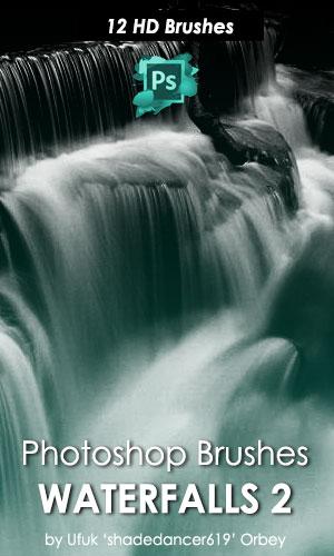 12种高清瀑布流水图案PS笔刷下载
