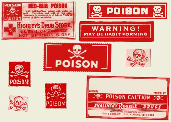 剧毒标志、毒药、骷髅头警示标识图案PS笔刷下载