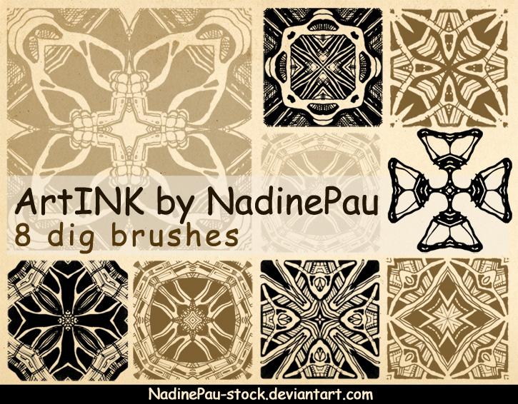 8种万花筒式印花花纹图案PS笔刷素材