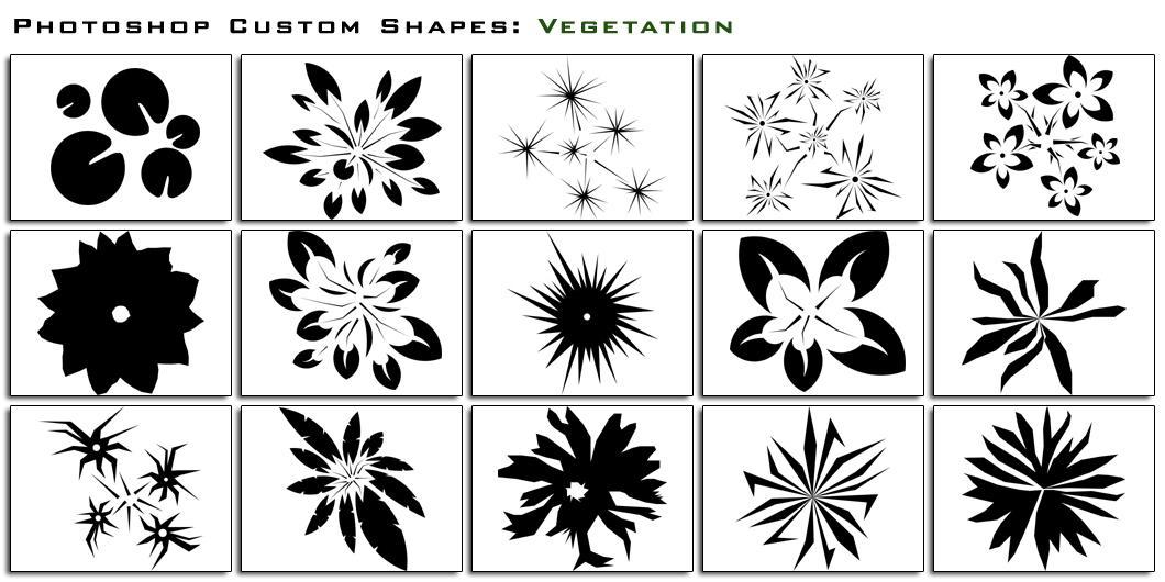 自定义花纹、花朵图案Photoshop自定义形状素材 .csh 下载