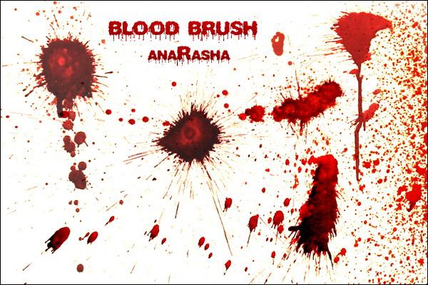 恐怖血液滴溅、血迹溅射PS笔刷下载