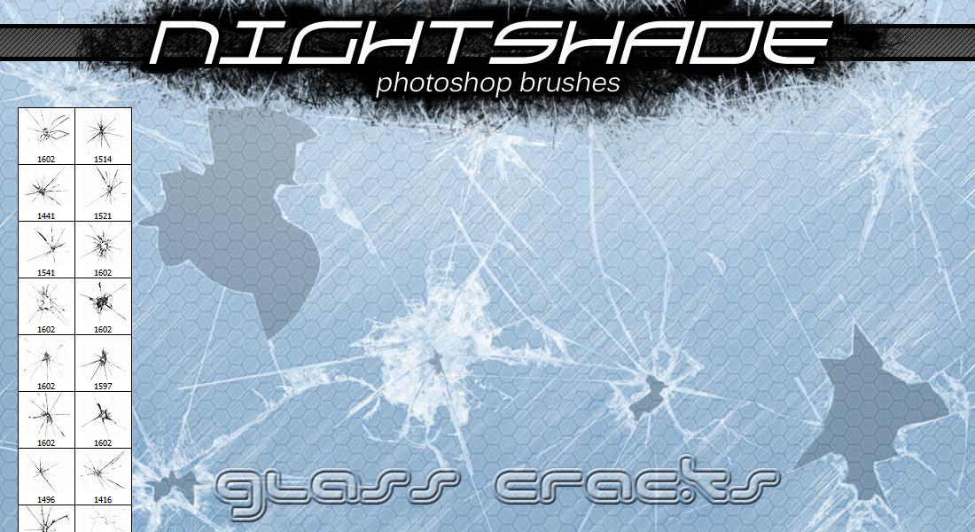 玻璃孔洞纹理、被打破的玻璃碎片效果PS笔刷下载