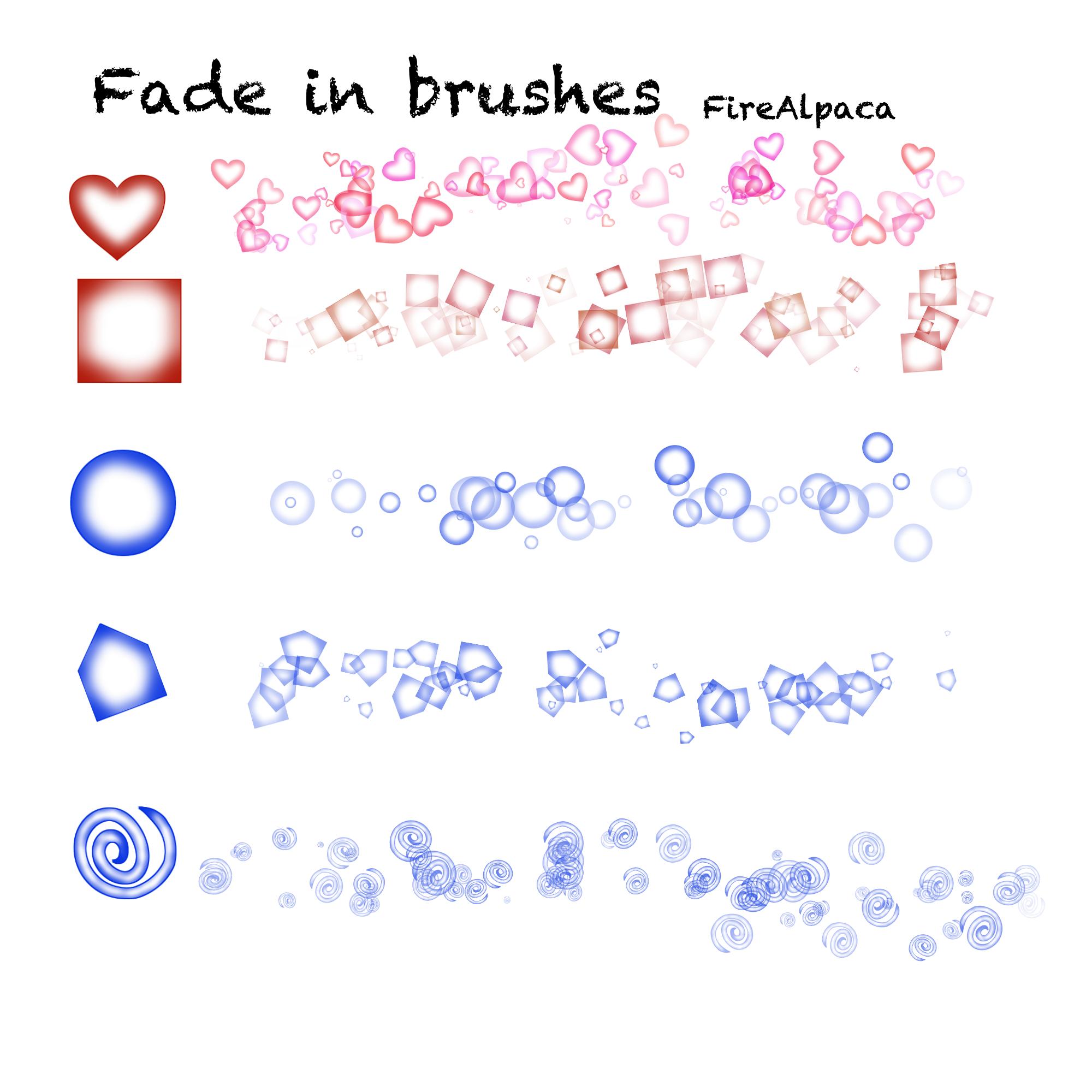 渐变效果的爱心、正方形、圆形、螺旋图案PS笔刷下载(PNG透明图片格式)