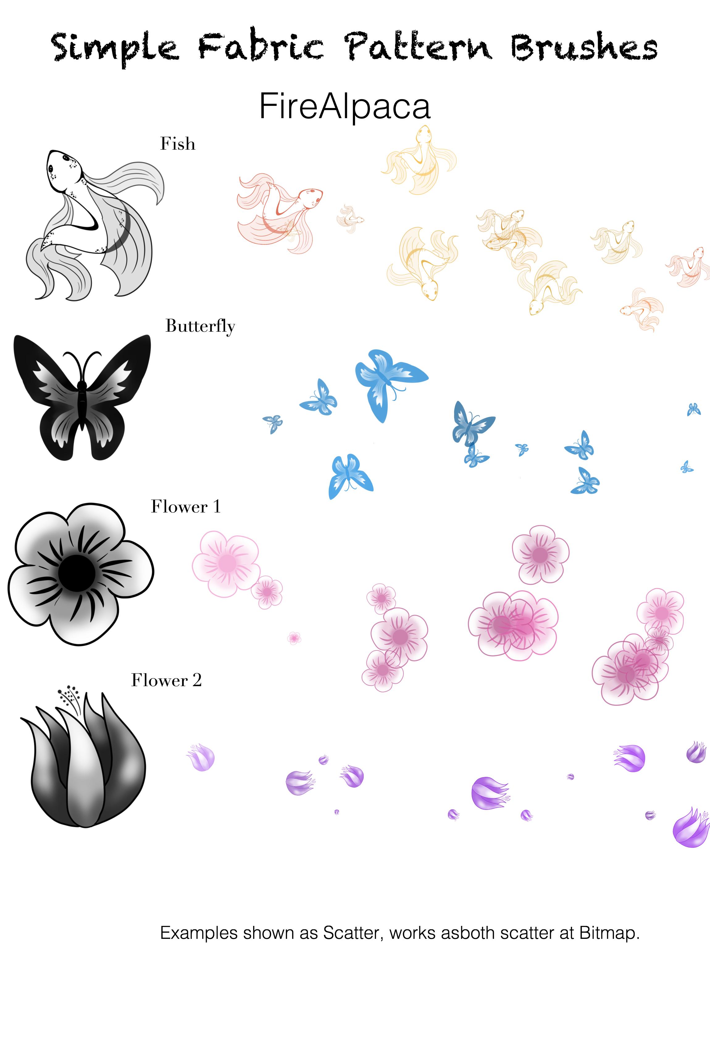 金鱼、蝴蝶、花朵等图案PS笔刷下载(PNG图片素材下载)