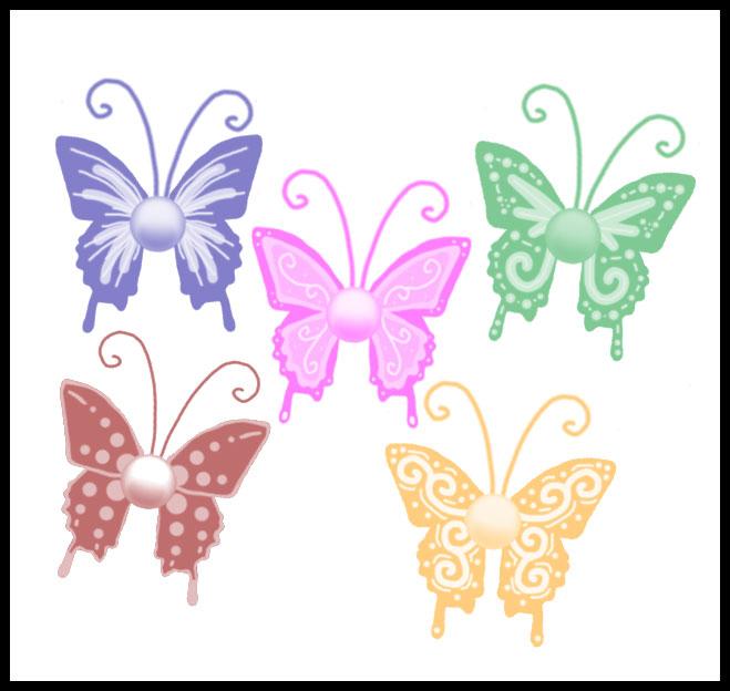 漂亮的七彩卡通蝴蝶图案Photoshop笔刷素材