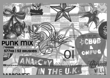 骷髅头、五角星、樱桃、飞鸟等图案PS笔刷素材