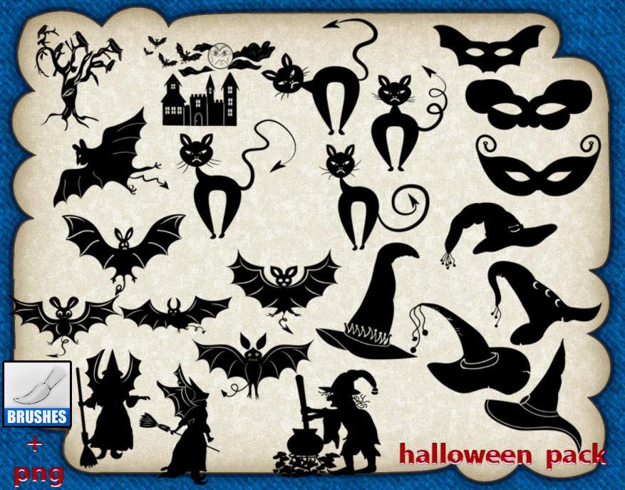 万圣节卡通蝙蝠、黑猫咪、巫师帽、巫婆等PS美图笔刷