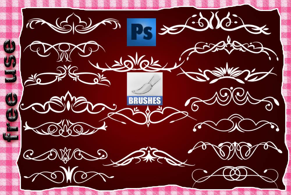 漂亮的贵族线条植物花纹图案PS笔刷素材下载