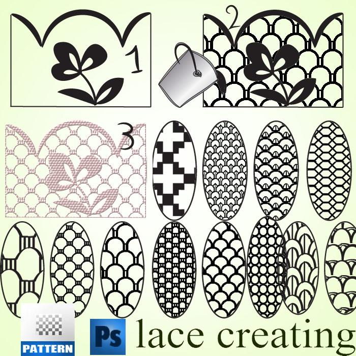 蕾丝刺绣式花纹图案Photoshop填充图案文件底纹素材 .pat 下载