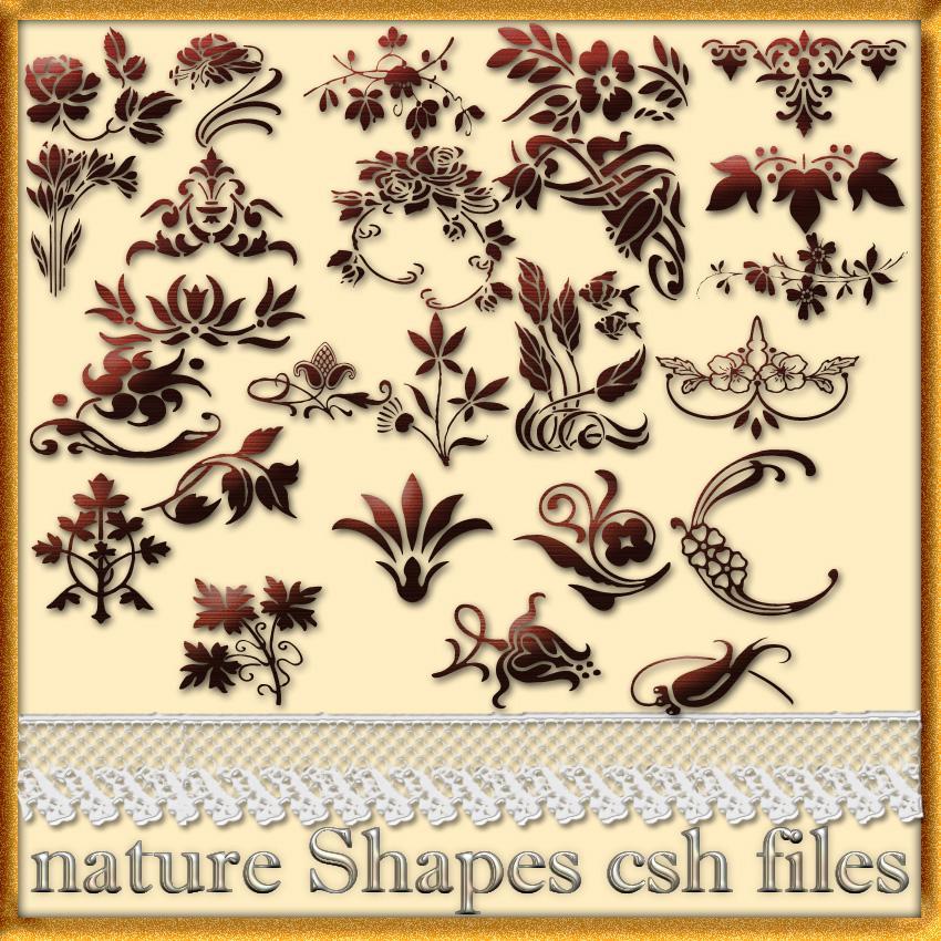 欧式贵族印花、富贵花纹图案photoshop自定义形状素材 .csh 下载