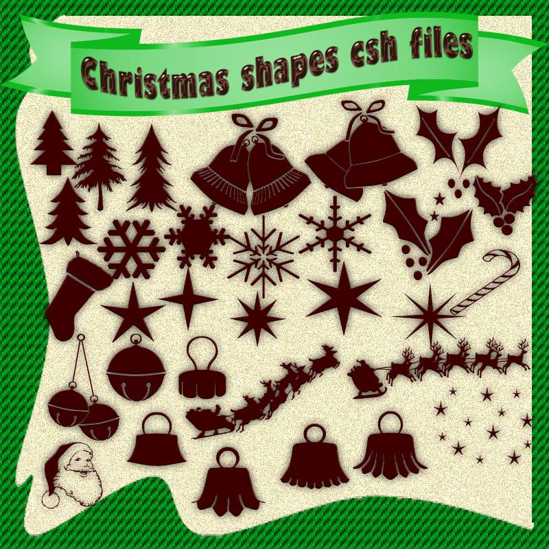 圣诞节铃铛、树叶、雪花、驯鹿等圣诞节装饰photoshop自定义形状素材 .csh 下载