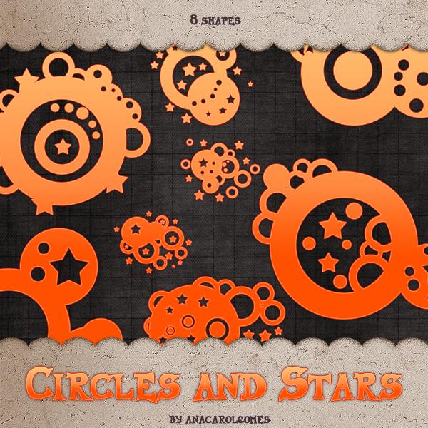 同心圆和星星组合非主流图案photoshop自定义形状素材 .csh 下载