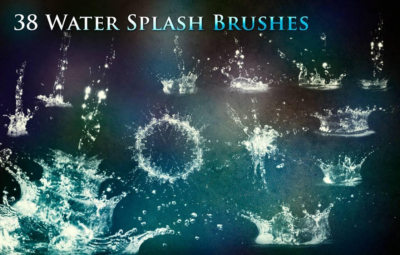 38种水花、水滴落效果Photoshop笔刷下载