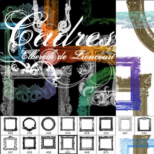 富贵式风格的相框、画框、木制雕刻边框Photoshop笔刷素材