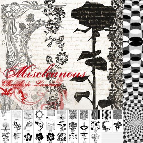 欧式复古式鲜花花纹图案Photoshop印花笔刷下载