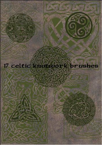 17种凯尔特风格古典印花图案Photoshop笔刷下载