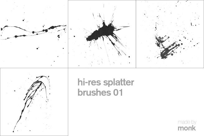 高清浓稠液体挥溅、滴溅、溅射效果Photoshop笔刷下载