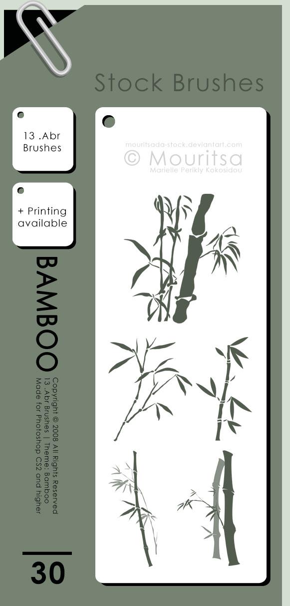 手绘中国传统山水画毛竹、竹子图案PS笔刷下载