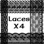 4种蕾丝花边、裙边装饰品PS笔刷素材